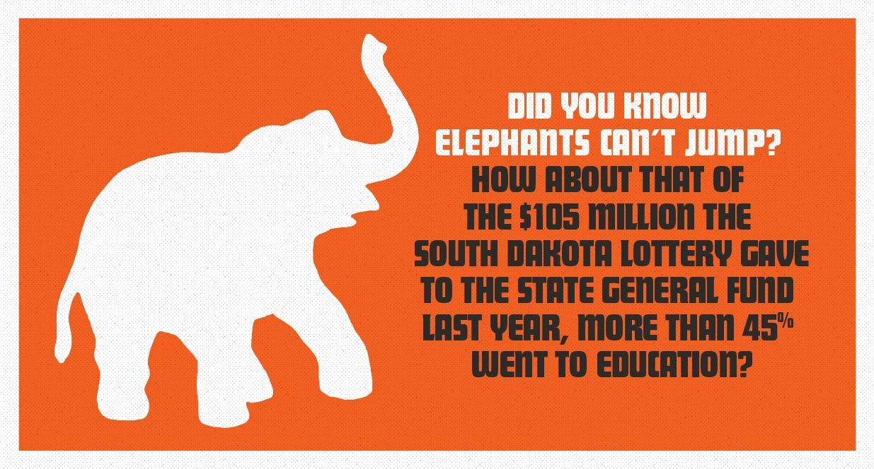 Elephant signage SD Lottery