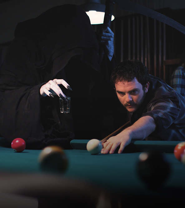 Death lurking behind billiards player