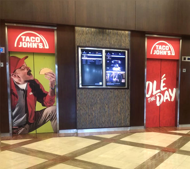 Ole the Day Elevator Branding | Taco Johns
