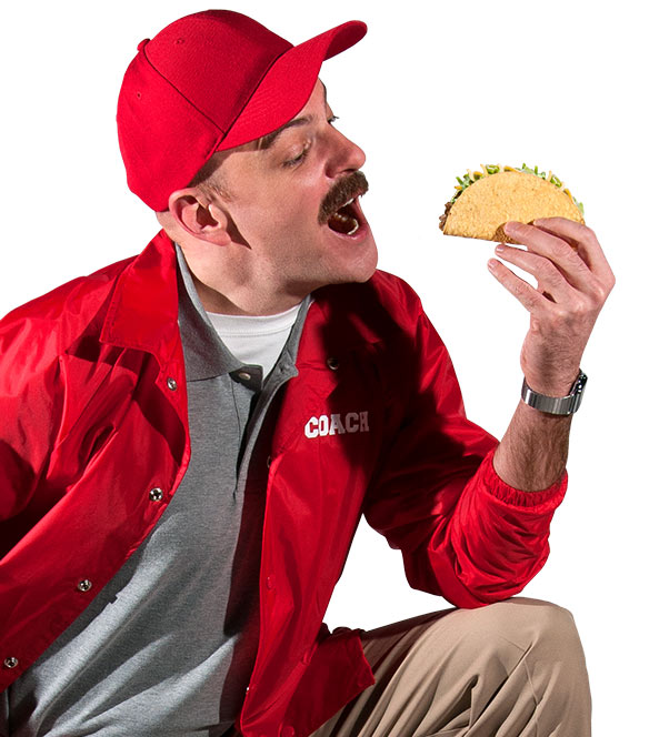 Coach Eating a Taco | Taco Johns