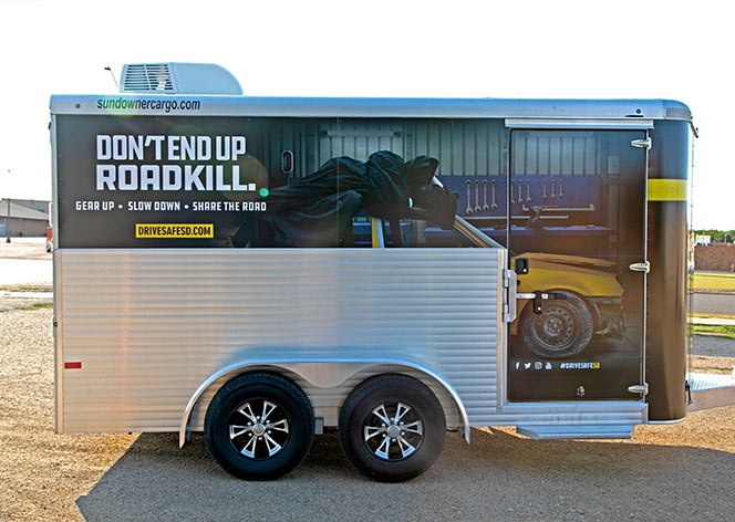 Trailer Wrap - Don't End Up Roadkill   Jim Reaper Campaign