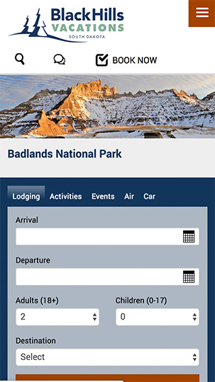 Mobile Booking   Black Hills Vacations