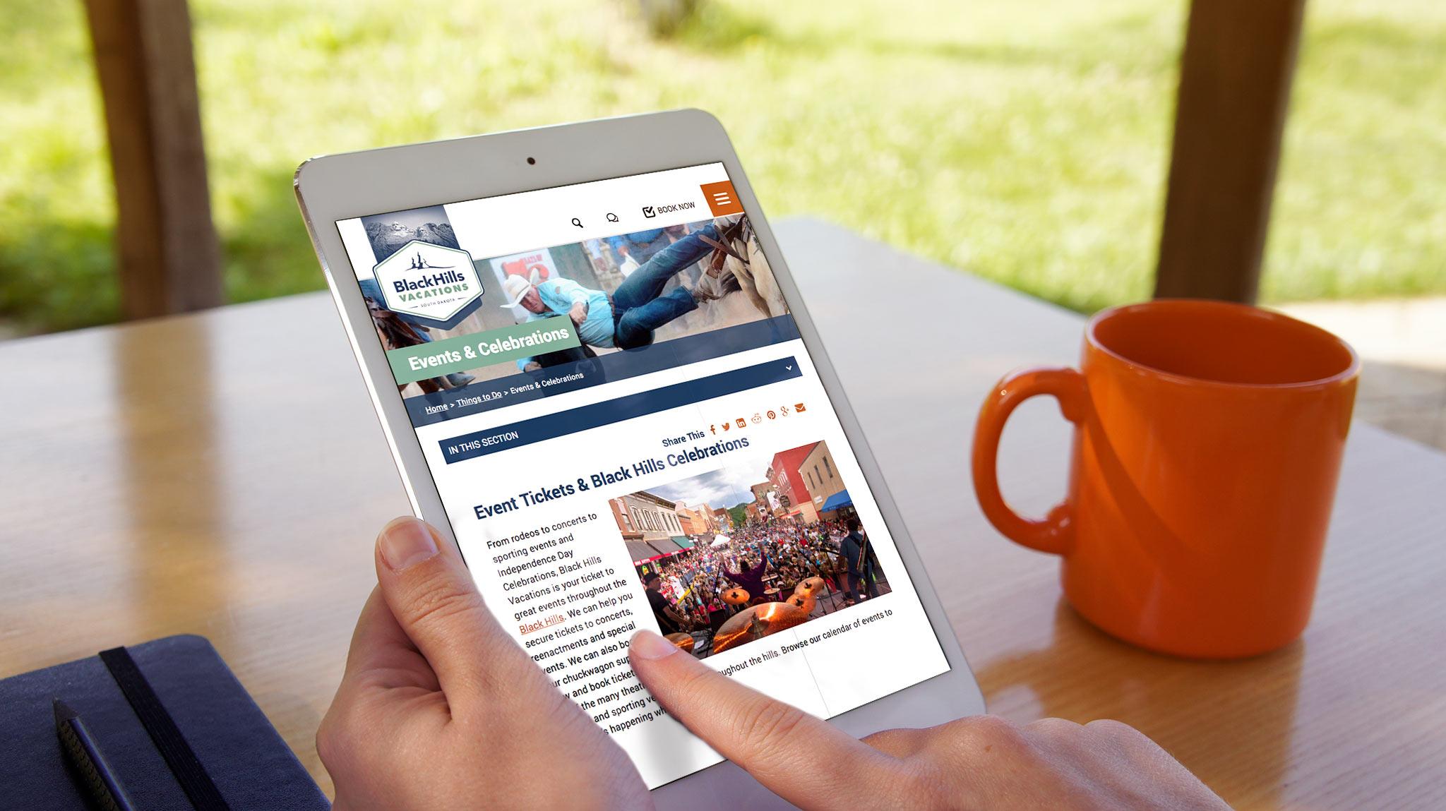 iPad Viewing Website   Black Hills Vacations