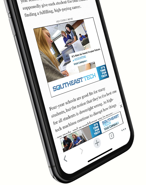 Mobile Website Mockup | Southeast Tech Work Sample