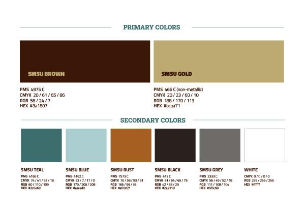 SMSU brand colors | SMSU Work Sample