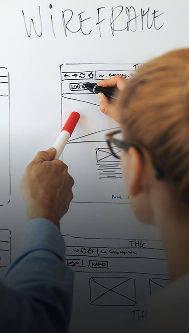 Mockup review on white board
