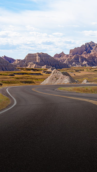 Open road with mountains