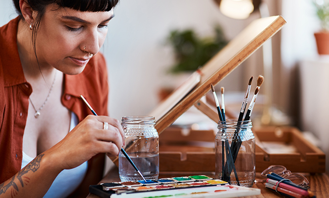 woman painting | Creativity during COVID