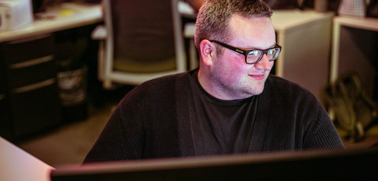 boy working at desk